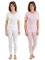 2COZEE Set Of 4 Womens Thermal Underwear Short Sleeve Vest & Long Pants, 6-8