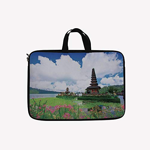 3D Printed Double Zipper Laptop Bag,Temple in Bali Tropic Flowers Water Plants Tower,17 inch Canvas Waterproof Laptop Shoulder Bag Compatible with 17