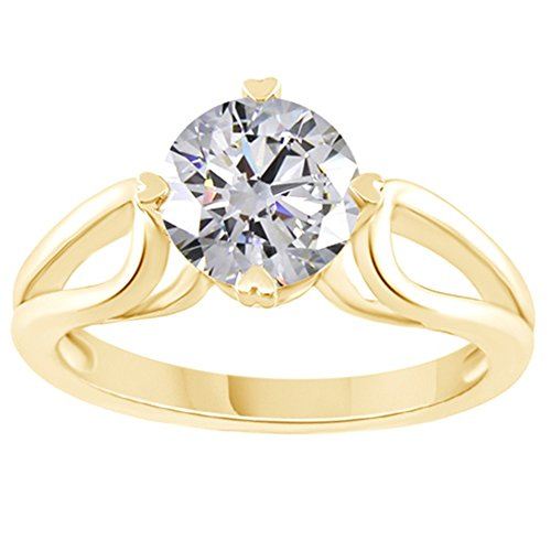 Jewel Zone US Moissanite 1.50 Carat Diamond Equivalent Weight Round Cut 14k Yellow Gold Over Sterling Silver Ring ()
