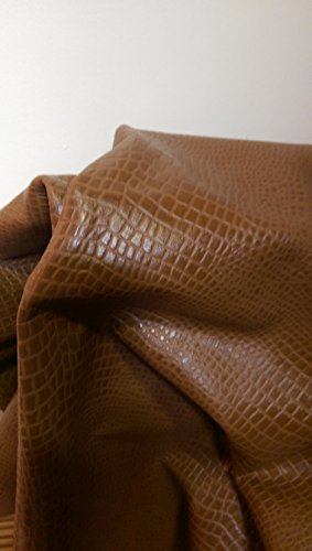 NAT Leathers Brown Croco Embossed 18 to 24 Square Feet (30