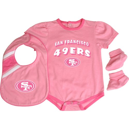 - Reebok San Francisco 49ers Infant Creeper, Bib & Bootie Set - Pink Infant 24 Months