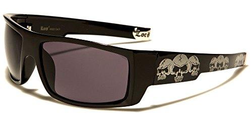 Locs Square Triple Skulls Wrap Around Sunglasses (Black & White Frame, - Skull Sunglasses