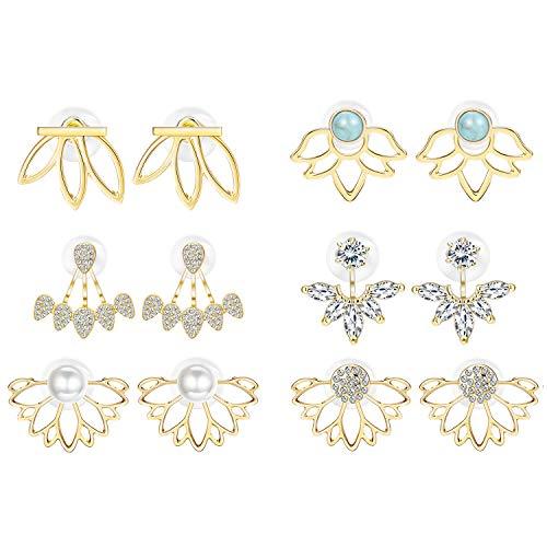 Adramata 6 Pairs Lotus Flower Earrings for Women Girls Simple Chic Fashion Stud Earrings,G