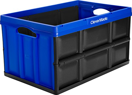 Collapsible Storage Bins (CleverMade CleverCrates 62 Liter Collapsible Storage Bin/Container: Solid Wall Utility Basket/Tote, Royal Blue)