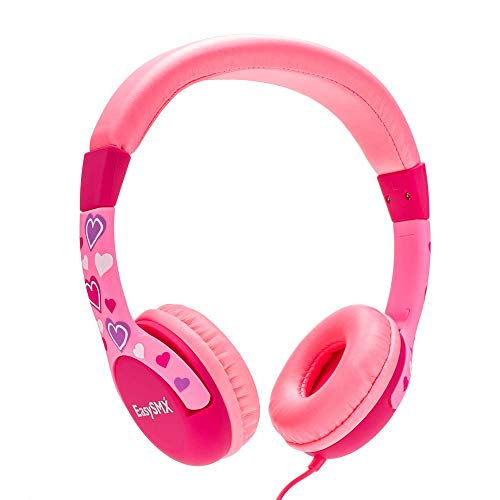 JIEDING Kids Headphones,3.5mm Jack 85dB Volume Limited Stereo Wired Childrens Headphones Over Ear Headsets(Pink)