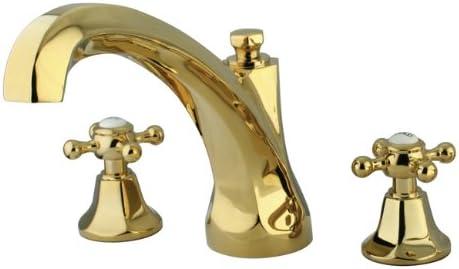 Kingston Brass KS4322BX Metropolitan Roman Tub Filler with Metal Cross Handle, Polished Brass