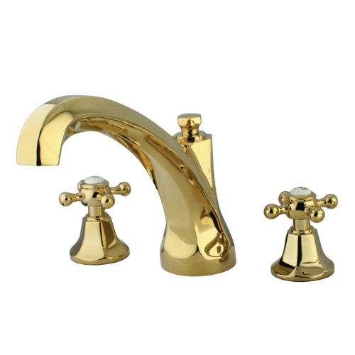 Kingston Brass KS4322BX Metropolitan Roman Tub Filler with Metal Cross Handle, Polished Brass - Roman Tub Filler Polished Brass