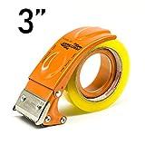 PROSUN Metal Big Handheld Tape Gun Dispenser 3 Inch (Large Size) 75mm Wide Packing Packaging Sealing Tape Cutter Orange TG08-ORG for People with Big Hands