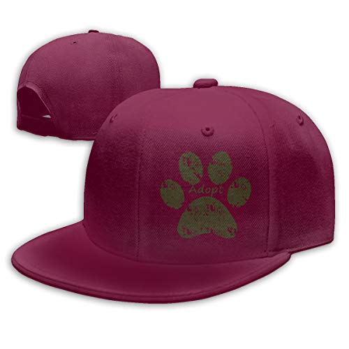 Hat Dog-Paw-Print-Adopt Adjustable Snapback Hip-hop Cap Womens Mens ()