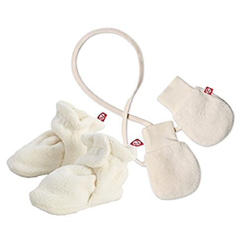 Cozie Mittens - Maven Gifts: Zutano Newborn Unisex-Baby Fleece Bootie, Cream, 12 Months with Cozie Lined Mitten, One Size