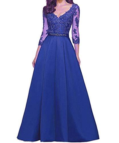 a Elegante Sapphire Da 3 Donna Qiuqier scollo Sera Blue Lungo Vestito 4 a Abito V manica E8q8Iwf6n
