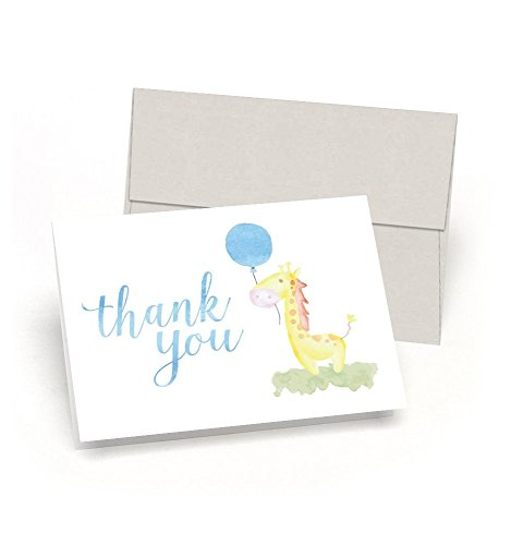 Gee Thank You Giraffe Baby Shower Thank You Cards Set of 10 Cards Envelopes – Watercolor Baby Giraffe – By Palmer Street Press Blue
