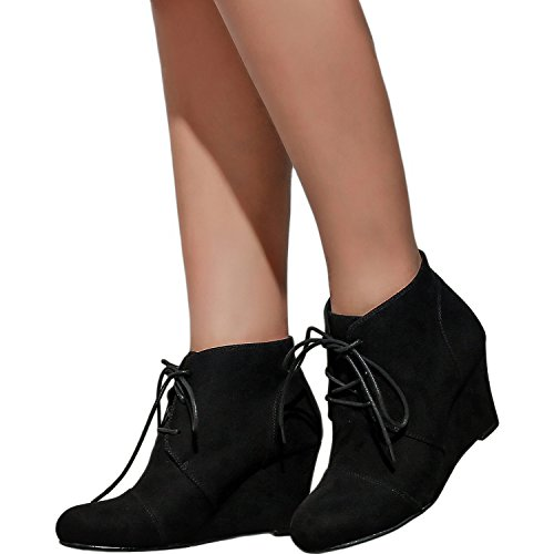 c2e66d996dee Women s Wide Width Wedge Boots - Lace Up Low Heeled Ankle Booties w Round  Closed