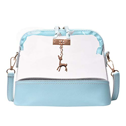 Rakkiss Women Transparent Crossbody Bag Fawn Pendant Shell Shoulder Bag Messenger Bag