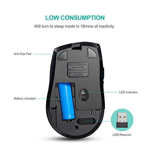 Wireless Mouse Rechargeable,2.4G Noiseless Mouse with USB Nano Receiver Laptop Mouse 3 Adjustable DPI 6 Button Computer Mouse for Laptop PC MacBook