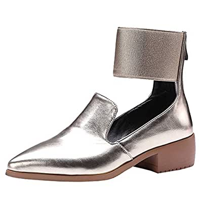 Melady Women Fashion Pumps Low Heels Court Shoes Ankle Wrap Performance Shoes Pointed Toe Flats Brogue Metallic Gold Size 33
