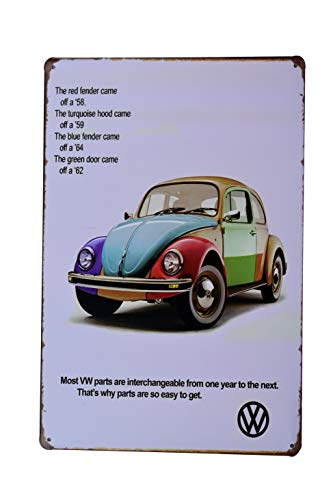 - H&K Volkswagon VW Bug Retro Car Metal Tin Sign Posters Wall Decor 12X8-Inch (VWBug)