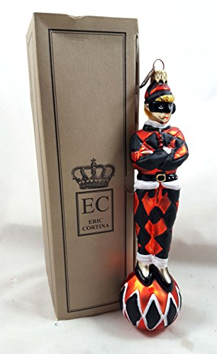 Eric Cortina Harlequin Jester Orange/Black Glass Ornament Made in Poland with Gift Box