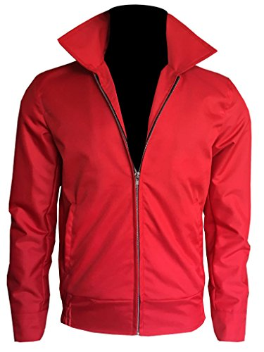 James Jacket Dean Red (Gen1Leather James Dean Rebel Without a Cause Jim Stark Red Cotton Jacket (XL, Red))