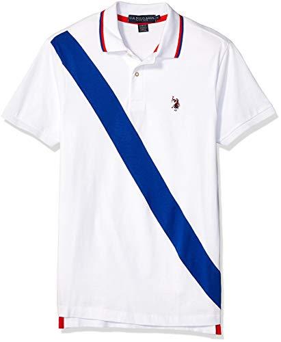 (U.S. Polo Assn. Men's Diagonal Stripe Color Block Jersey Polo Shirt, White,)