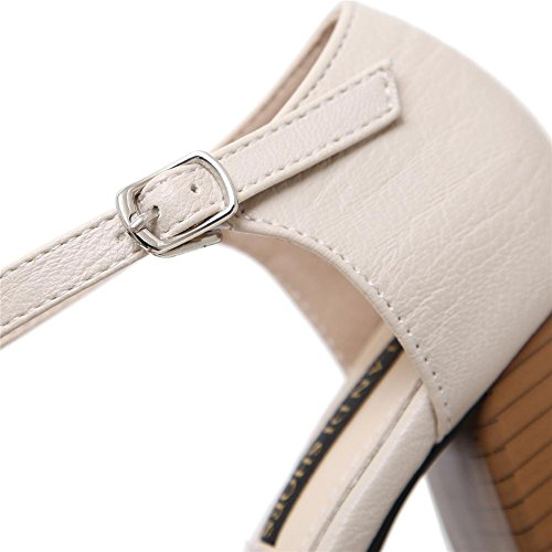 YEEY Sandalias de tacón alto de primavera autom para mujeres de bordado hueco flores puntiagudas Toe zapatos de tacón gruesos verano apricot white