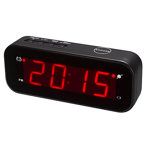 Kwanwa Cordless LED Digital Alarm Clock Battery Powered Only Small for Bedrooms/ Wall/Travel With Constantly Big Red Digits Display