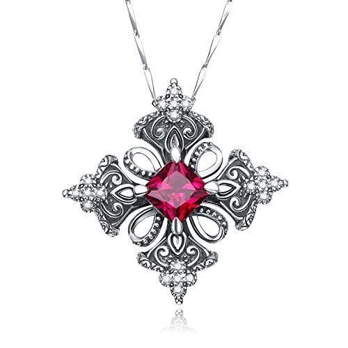 Yeinos Antique Created Ruby Irish Celtic Cross Pendant Necklace for Women,18