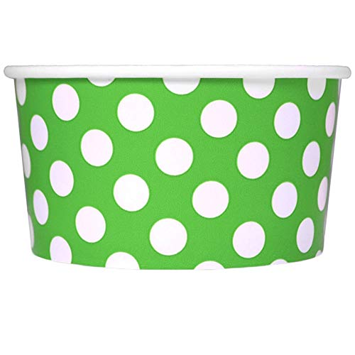 - Green Easter Paper Ice Cream Cups - 6 oz Polka Dotty Dessert Bowls - Comes In Many Colors & Sizes! Frozen Dessert Supplies - Fast Shipping! 50 Count