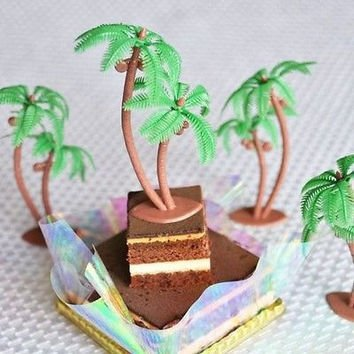 Palm Trees With Coconuts Cake Cupcake Toppers 12 Pcs