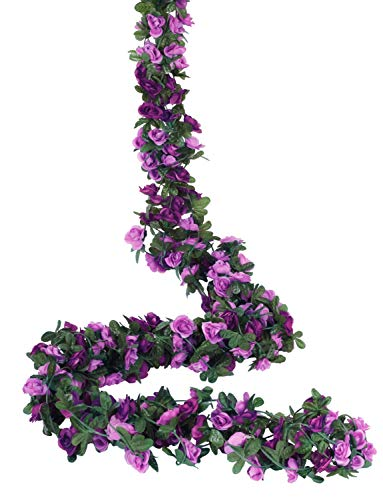 - Miracliy 5 Pack 41 FT Fake Rose Vine Flowers Plants Artificial Flower Hanging Rose Ivy Home Hotel Office Wedding Party Garden Craft Art Décor (Purple)
