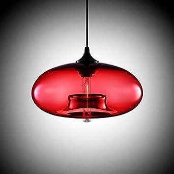Loft moderne suspendu luminaire en verre E27 Luminaires Cuisine Restaurant Salon Chambre (rouge)