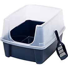 IRIS Open Top Litter Box with Shield and Scoop, Blue