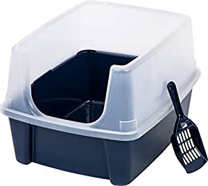 IRIS Open Top Cat Litter Box Kit with Shield and Scoop, Blue