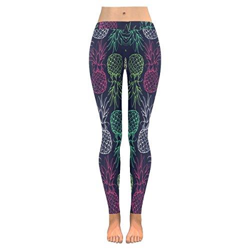 InterestPrint Tropical Pineapple Fruit Custom Stretchy Leggings Skinny Pants for Yoya Running Pilates Gym (Plus Tropical Fruit)
