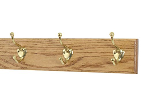 Solid Oak Coat Rack with Solid Brass Hat and Coat Style Hooks – Made in The USA (Golden Oak, 15 x 3.5 with 3 hooks)