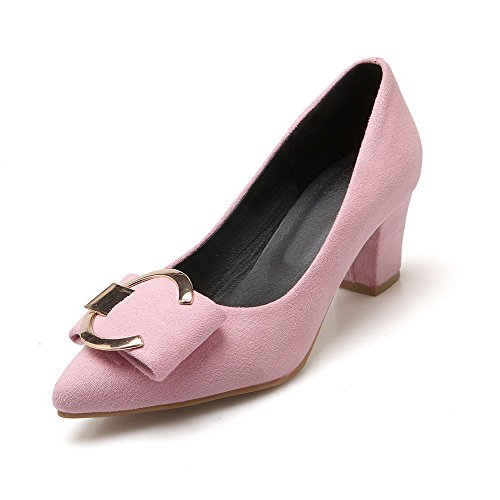AmoonyFashion Womens Pull On Kitten Heels Frosted Solid Pointed Closed Toe Pumps-Shoes Pink
