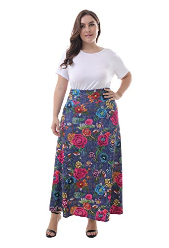 ZERDOCEAN Women's Plus Size High Waisted Bohemian Printed Long Skirt color813 4X