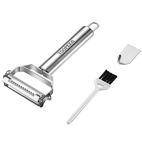 2-in-1 Stainless Steel Peeler with Ergonomic Handle Vegetable Julienne Cutter with Cleaning Brush Multifunction Fruit Slicer Tool for Home Kitchen Restauran (Vegetable And Brush Peeler)