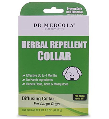 Herbal Repellent Collar For Dogs & Puppies - No Harsh Ingredients - Repels Fleas, Ticks, Mosquitoes - Dr. Mercola Healthy Pets - 1 Collar (Effective Up To 4 Months) (Large Dogs (Necks up to 27''))