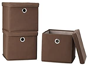 StorageManiac Folding Canvas Storage Box with Lid and Built-in Grommet Handles, Pack of 3, Brown