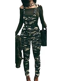 Etecredpow Womens Classic Jumpsuits Slim Bib Denim Fashion Camouflage Overalls