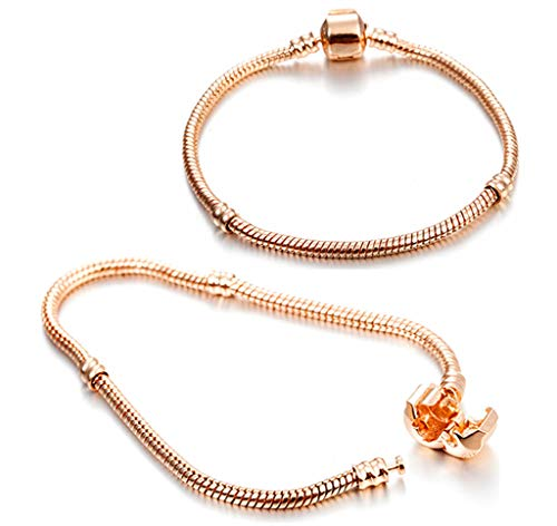 Kinteshun Snake Bracelet Chain,Gold Plating European Bead Charm Wristlet Bracelet Chain with Snap Barrel Clasp(2pcs,3mm&8.3 inches)