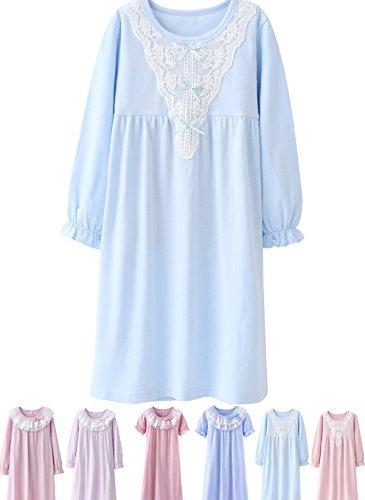 Abalacoco Girls Kids Princess Lace Nightgown Long Sleeve Cotton Sleepwear Dress Pretty V-Neck Loose Homewear 10-11 Years -