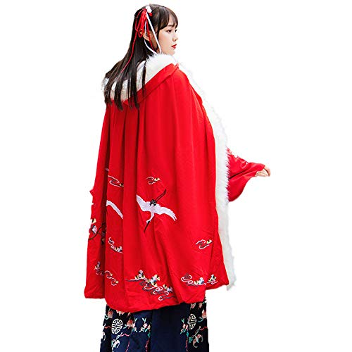 ZooBoo Chinese Tang Costume Cloak - Crown Manual Homespun Hooded Cloak of Chinese Style - Cotton