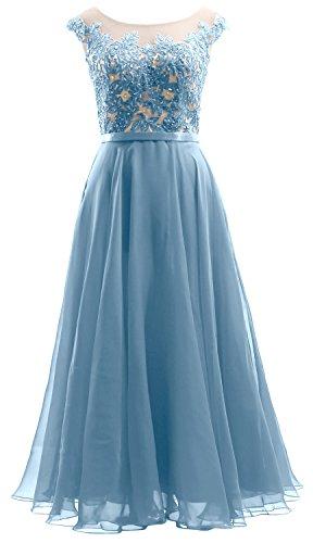 MACloth Cap Sleeves Illusion Midi Prom Dress Lace Chiffon Wedding Party Dress Himmelblau 7MQLo