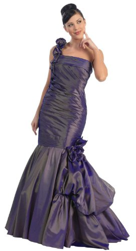 Pleated Gown Formal Prom Dress #763 (6, Eggplant) (Shoulder Taffeta Ball Gown)
