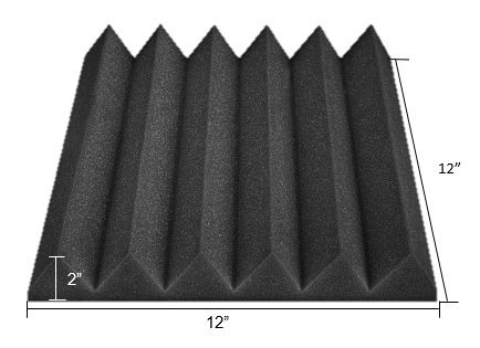 (96 Pk) Charcoal 2''x12''x12'' Soundproofing Acoustic Studio Foam Wedge Style Panels Tiles - Top Quality - Ideal for Home & Studio Absorption Sound Insulation