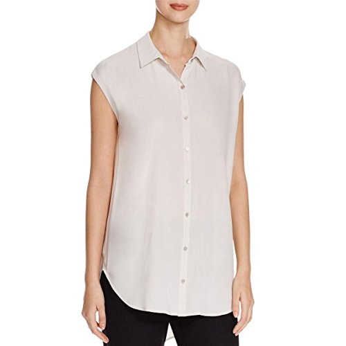 Eileen Fisher Womens Petites Georgette Classic Collar Button-Down Top Taupe PL