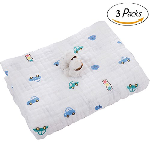 Baby Blanket/Bath Towel 100% Cotton,Super soft Gauze, Natural Absorbent Muslin 6 Layer Warm 41.3 X 41.3 inch (Car 3pcs) by Babyhood
