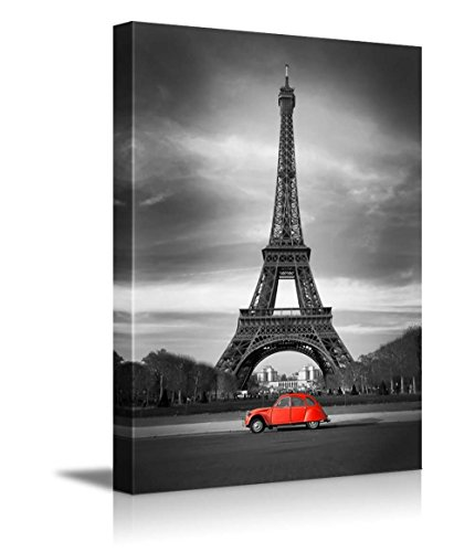 Eiffel Tower in Black and White and Old Red Car Retro Vintage Style Wall Decor ()
